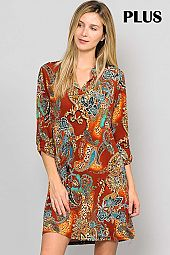 MULTI PAISLEY PRINT SPLIT NECK DRESS WITH POCKET