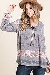 DITSY FLOWER PRINT FRONT TIE LONG SLEEVE TOP