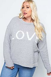 FURRY KNIT LOVE CROPPED PULLOVER SWEATER