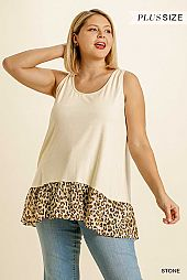 High Low Hem Round Neck Sleeveless Ribbed Top