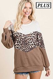 Plus Chevron Animal Color Block Waffle Knit Top