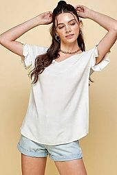 TWO TONE LINEN RUFFLE SHORT SLEEVE V NECK TOP