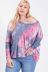 PLUS BOAT NECK TIE DYE LONG SLEEVE TOP