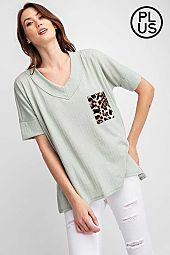 Plus Jacquard Wide V Neckband Short sleeves Top