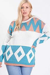 GEOMETRIC PATTERN KNIT COLOR BLOCK SWEATER