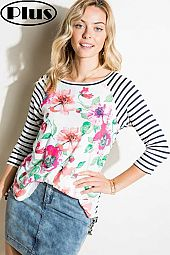 FLORAL STRIPE MIXED 3/4 SLEEVE ROUND NECK PLUS TOP
