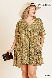 ANIMAL PRINT V NECK BABY DOLL DRESS