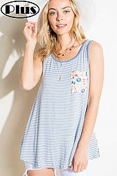STRIPE FLORAL MIXED FRONT POCKET PLUS TANK TOP