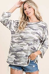 CAMO THERMAL ROUND NECK QUARTER SLEEVE TOP