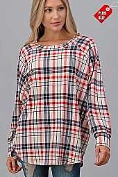 PLAID RAGLAN SLEEVE OVER SIZE TOP PLUS