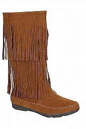 TIERED FRINGE FAUX SUEDE BOOTS