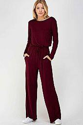 *PRE-ORDER* SOLID WIDE LEG SCOOP BACK JERSEY JUMPSUIT