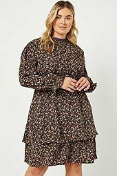 Plus Floral Smock Neck Long Sleeve Mini Dress