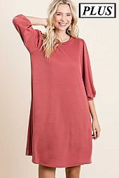 Plus French Terry Solid Knit Dress
