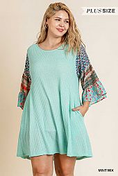 FLORAL MIX PRINT BELL SLEEVE ROUND NECK DRESS