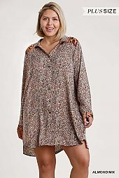Animal Print Collared Button Down Shirt Dress
