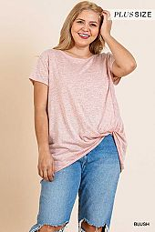 GATHERED HEM SHORT SLEEVE TOP