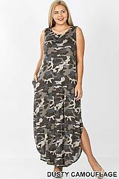 PLUS CAMOUFLAGE PRINT SLEEVELESS MAXI DRESS