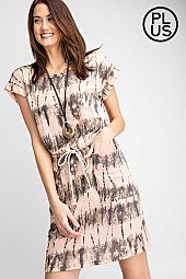 Plus Tie dye Printed drawstring mini dress