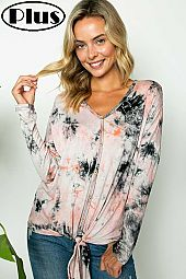 TIE DYE V NECK BUTTON DOWN FRONT TIE BTTM PLUS TOP