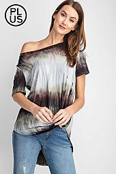 Plus Tie Dye Round Neckline Short Sleeve Top