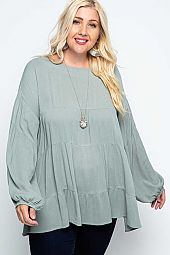 Woven Long Sleeve Tiered Swing Tunic Top