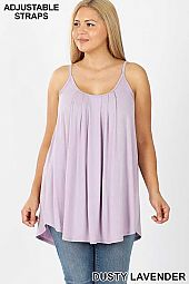 PLUS PLEATED CAMI ADJUSTABLE STRAPS