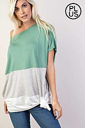 Plus Color Block Poncho Silhouette Knit Top