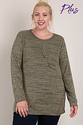 Front Pocket Detail Knit Top