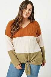 Waffle Knit Colorblock Tie Top