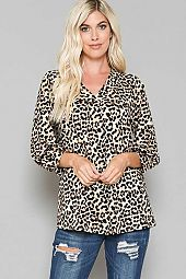 ANIMAL PRINT V-NECK BLOUSE