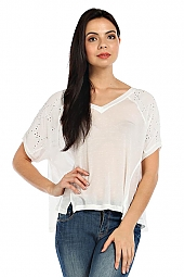 EYELET TRIM SHOULDER KNIT TOP
