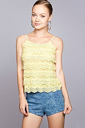 SCALLOP CROCHET TIERED FRONT CONTRAST CAMI TOP