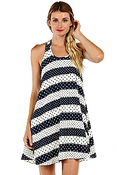 POLKA DOT STRIPED PRINT FLARE DRESS