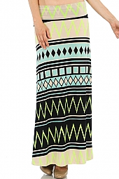 ETHNIC PRINT KNIT MAXI SKIRT
