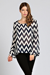 CHEVRON BELL SLEEVE BLOUSE