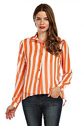 CUTOUT BACK STRIPE PRINT BLOUSE