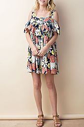 FLORAL PRINT FLOUNCE ACCENT DRESS