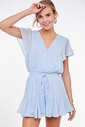 SOLID SHORT SLEEVE WOVEN ROMPER