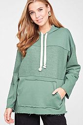 SOLID SLIT OPEN SIDE HOODIE TOP