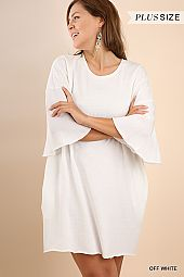 PLUS CONTRASTING SLEEVES BOXY DRESS