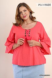 PLUS TIER RUFFLE SLEEVES LACE UP BLOUSE