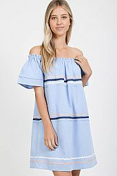 RIBBON BAND TRIM FLOUNCE OFF SHOULDER DRESS