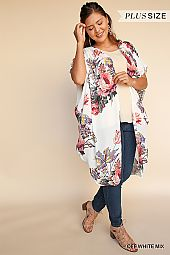 FLORAL PRINT OPEN WOVEN OPEN CARDIGAN
