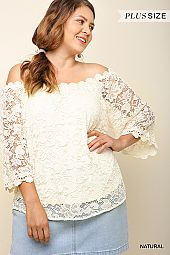 FLORAL CROCHET OFF SHOULDER TOP