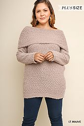 PLUS FOLD OVERLAY OFF SHOULDER BOUCLE SWEATER