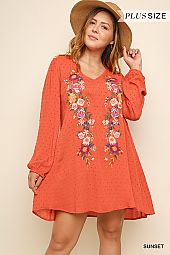 EMBROIDERY ACCENT TEXTURED FLARING DRESS