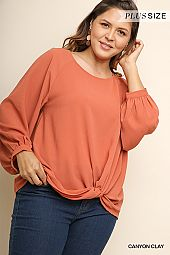 PLUS TWIST FRONT WOVEN BLOUSE