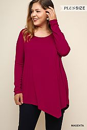 PLUS ASYMMETRICAL HEM SCOOP NECK TOP