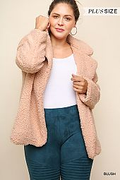 PLUS SOFT FUR WIDE COLLAR JACKET
